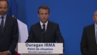 French President Emmanuel Macron announces that a national reconstruction plan will be implemented as soon as possible in St Barts and St Martin two...