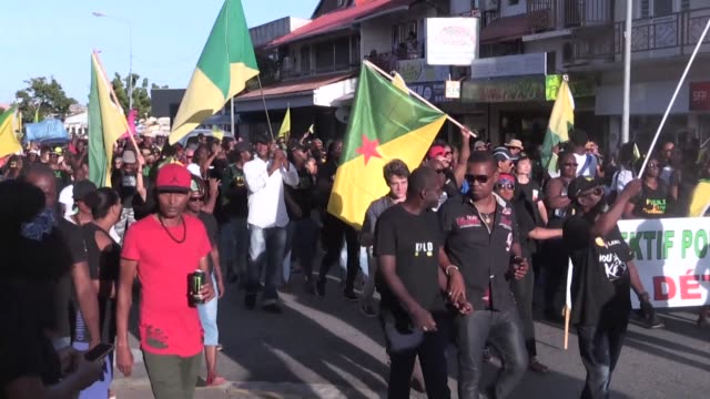 French President Emmanuel Macron faces demonstrations on the first day of his trip to the impoverished French territory of Guiana where he arrived...