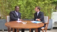 French President Emmanuel Macron meets with his counterpart from Ivory Coast Alassane Ouattara for a working lunch at the Elysee Palace