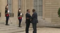 French President Emmanuel Macron met with his Central African counterpart Faustin Archange Touadera at the Elysee palace on Monday