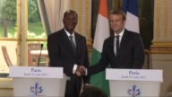 French President Emmanuel Macron on Thursday welcomed his Ivory Coast counterpart Alassane Ouattara at the Elysee Palace in Paris underlining the...