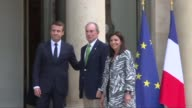 French President Emmanuel Macron welcomed Friday at the Elysee palace former New York mayor and UN envoy for climate change Michael Bloomberg and...