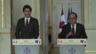 French President Francois Hollande met with the Prime Minister of Canada Justin Trudeau on Sunday at the Elysee Palace on the eve of the opening of...