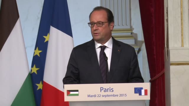 French President Francois Hollande urged peace calm and the respect of principles following a meeting with the President of the Palestinian Authority...