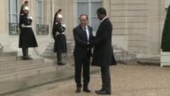 French President Francois Hollande welcomed on Monday his Zambian counterpart Edgar Lungu at the Elysee Palace for talks