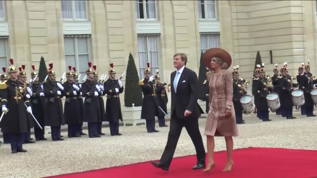 French President Francois Hollande welcomes Queen Maxima of the Netherlands and King WillemAlexander of the Netherlands prior to attend a meeting at...