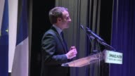 French presidential candidate Emmanuel Macron says Syrian leader Bashar al Assad has failed while addressing the French community at ESA Business...