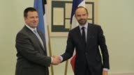 French Prime Minister Edouard Philippe makes his first official trip abroad to Estonia