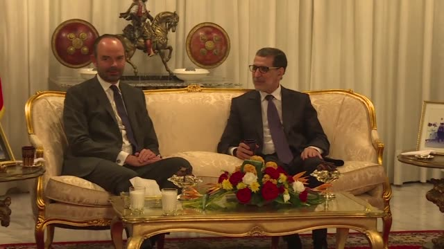 French Prime Minister Edouard Philippe meets with his Moroccan counterpart Saad Eddine El Osthmani in Rabat ahead of several meetings scheduled on...