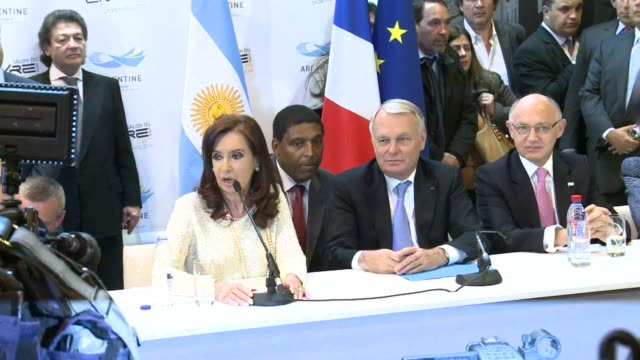 French Prime Minister Jean Marc Ayrault and Argentinian President Cristina Kirchner open the Paris Book Fair at which Argentina is the guest of...