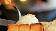 French Toast with ice cream and honey syrup