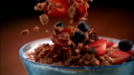 SLO MO, CU, Fresh fruits and granola being poured into bowl of milk