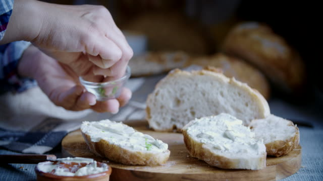 Fresh Homemade Bread with Cream Cheese