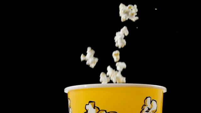 Fresh Popcorn Falling Into Box