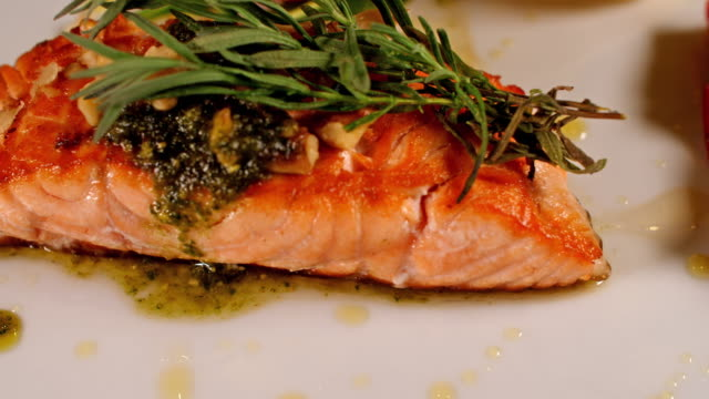 Fresh salmon meal close up