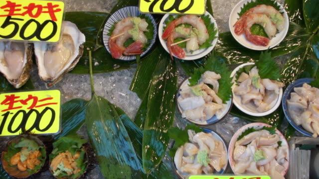 Fresh seafood ready to eat, sold at Tsukiji Market