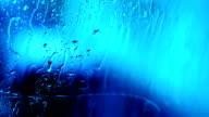 Fresh water drops on window glass