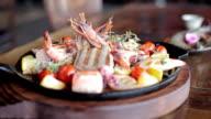 Freshly grilled seafood