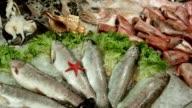 Frigorifero con frutti di mare al supermercato