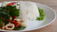 HD Fried basil leaf with seafood and rice