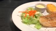 fried cutlet fish and shrimp steak