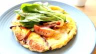 Fried eggs omelette in white plate