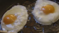 Fried eggs slow motion