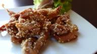Fried sliced pork with white sesame