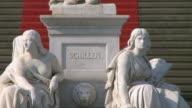 CU Friedrich schiller memorial in front of concert hall at gendarmenmarkt / Berlin, Germany