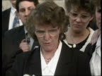 'Friendly fire' inquest Unlawful killing verdict ENGLAND Oxford MS Barbara Thompson reading from paper outside courtroom as others stand next CMS...