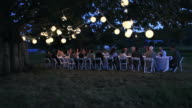 WS Friends and family dining outside in field under tree with lanterns at twilight/Washington, USA
