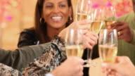 Friends celebrating Holiday Season with toast
