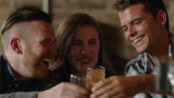 Friends cheers and clink glasses sitting at crowded bar