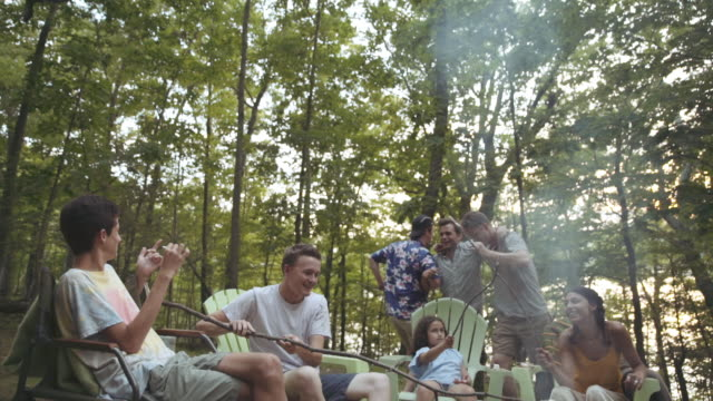 Friends dancing and roasting marshmallows in campfire
