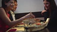 MS Friends eating at Japanese restaurant, Rome, Lazio, Italy