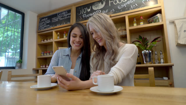 Friends enjoying a coffee while social networking on a smartphone
