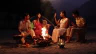 Friends enjoying at campfire