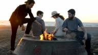 Friends Gather Around Beach Bonfire