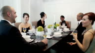Friends gather at a dinner party