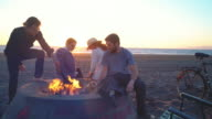 Friends hanging out on the beach with a fire