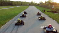 Friends have fun at go cart