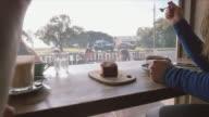2 friends having breakfast together at Mornington Peninsula, close up