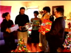 Friends having Christmas party