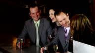 Friends having fun in a bar