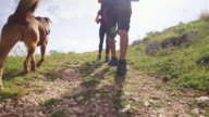 Friends hiking in Italian Apennines mountains