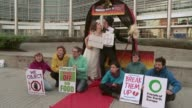 Friends of the Earth Europe stage a protest at the European Commission against a series of mega mergers that activists fear will deepen threats to...