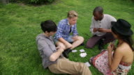 WS PAN Friends playing  card game in park / NYC, New York, United States
