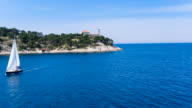 WS HA friends sailing in mediterranean sea on modern yacht