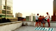 Friends toasting wine glasses on rooftop