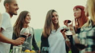 Friends together enjoy meal and red wine in Italy